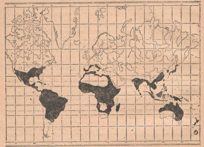 Карта географического распространения батата.